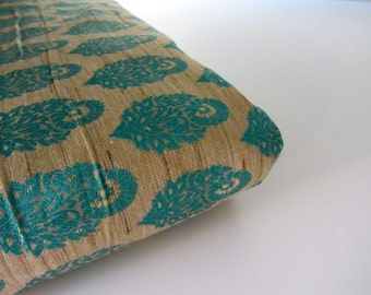 Natural silk with teal blue flowers silk brocade fabric nr 731- 1/4 yard | fat quarter