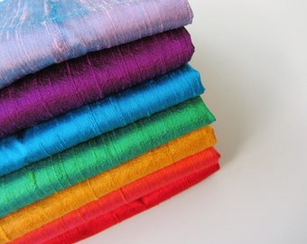 Rainbow silk set raw sink bridal shantung raw silk fabric number 749  - 1/4 yard | fat quarter