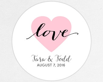 Heart Wedding Favor Labels Calligraphy Tags Stickers