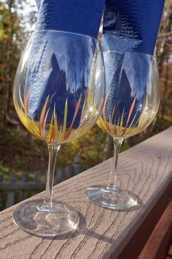 Handpainted Unique Wine Glasses Large Wine Glasses Birthday