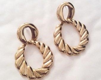 Dangle Earrings, Hoop, Modernist, Gold Tone, Victorian Revival, Vintage Jewelry, SUMMER SALE