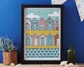 Beach Huts art print designed by Jessica Hogarth - art print - matted print - ready to frame - colourful digital print on matte card