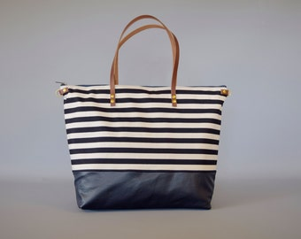 Waterproof canvas and leather diaper bag - SKYE - Large French Nautical Navy and White Stripe CANVAS top LEATHER base  Zip Beach Tote
