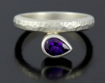 Deep Purple Amethyst February Birthstone Ring. Sterling Silver Birthstone Ring. Amethyst Solitaire Ring- CS1526