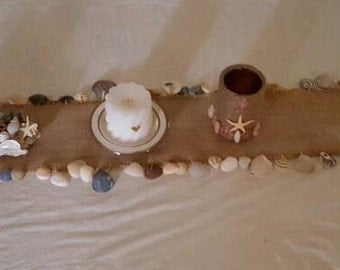 Shelled Table Runner, burlap with hand collected shells from the Carolinas! Events and beach home table decor