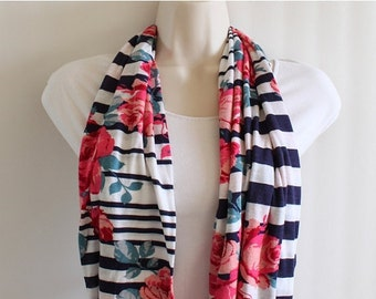 ON SALE Navy Blue Stripe with Roses Skinny Infinity Scarf, Loop Scarf, Circle Scarf, Tube Scarf, Jersey Knit Scarf