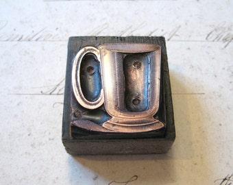 Antique Copper Letterpress Printers Wooden Block of a Cup, Mug or Tankard c1900