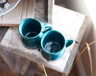 Handmade dark teal/turquoise pottery mug set