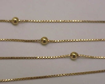 Ladies Estate Vintage 23 Inches-Pure 14kt Yellow Gold Chain Necklace, Italy