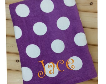 Beach Towel, Polka Dot Towel, Towel for Kids, Beach Towel Personalized, Kids Towel, Monogram Towel, Embroidered Towel, Personalized Gift