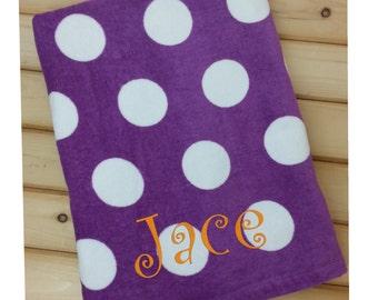 Beach Towel, Polka Dot Towel, Towel for Kids, Beach Towel Personalized, Kids Towel, Monogram Towel, Embroidered Towel, Personalized Gift