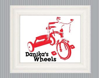 Tricycle Poster,  Tricycle Art, Vintage Tricycle, Trike Print, Bicycle Nursery, Bicycle Bedroom, Bicycle Room Decor, Trike Sign