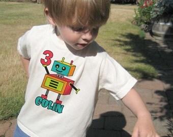 Robot Birthday Shirt, Natural T Shirt,  1st Birthday Shirt, 2nd Birthday Shirt, 3rd Birthday Shirt, Boys Birthday Shirt, Robot Shirt