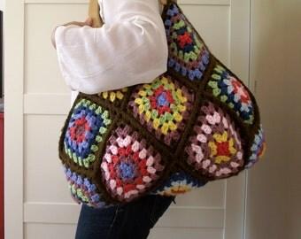 CROCHET PATTERN BAG crochet Granny Squares Handbag Pattern - Martha Bag - Crochet pdf pattern Large Bag, colorful bag pattern
