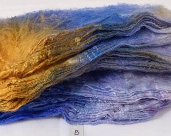 Hand- dyed  silk hankies -  ( 1.4  oz.)