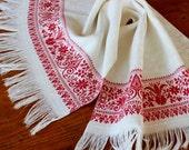 RESERVED for Leslie--Vintage Linen Display Towel Patriotic Antique American Lady Liberty Show Damask Fringe Red White