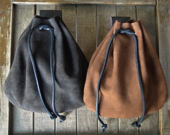 Medieval Leather Pouch, Drawstring Renaissance Bag, Medium - Choose Your Color - THE COMMONER