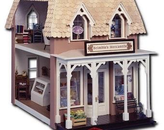 Miniature Wooden Shop Kit, Dollhouse Kit, Miniature Boulangerie, Scale One Inch