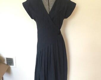 Gorgeous Vintage Lanvin Wrap Dress Floral Print Navy Blue 1980's Lanvin Dress with Button Size 8