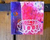 White lotus// lotus flower // original art// wood panel