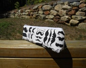 Slim Pencil Case,, Mustaches, Pencil Pouch, Travel Bag, One of a Kind