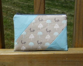 Zipper Pouch,, Foxes with Gray and Blue, One of a Kind