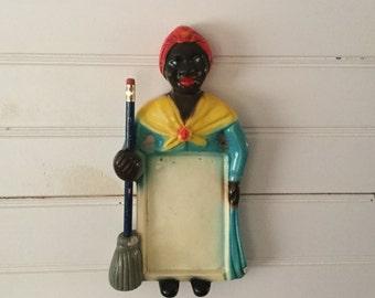 Vintage Antique Chalkware Mammy Memo Holder,Folkart,Pencil Holder,Collectible Chalkware