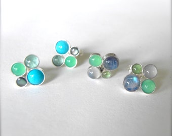 Gemstone Cluster Post earrings, Handcrafted stone studs Sterling Silver and mixed Gem Stones