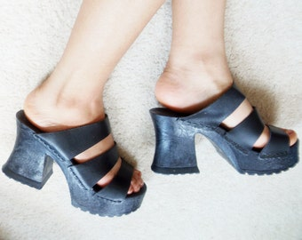 The Leather Collection Black Platform Strappy Sandals Heels Shoes Size 7.5