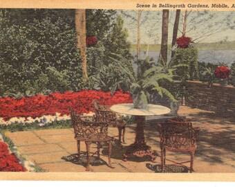 Vintage Linen Postcard...Scene in Bellingrath Gardens, Mobile, Alabama...Unused...no. 3625