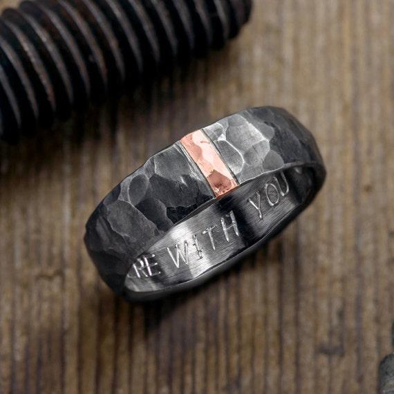 6mm Hammered Mens Wedding Ring 14k Rose Gold And Rhodium