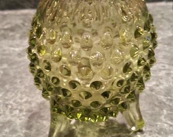 Fenton Hobnail Vase - Green 3 leg