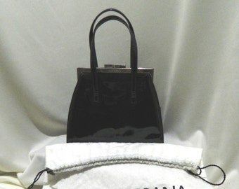 Dolce & Gabbana Black Purse Patent Leather Made in Italy