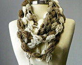 Crochet Infinity scarf, bubble fiber necklace, women accessories, winter, chunky loop scarf, christmas gift, gift for her