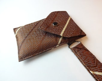Recycled 3-Pocket Necktie Wristlet Wallet Brown Chevron