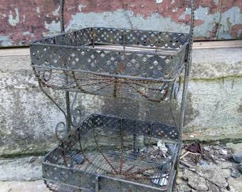 two tier metal basket 1960s