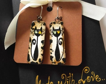 """GIFT!Wooden black cat rectangle leopard earrings in greeting card, ready for gifting """"Made with Love""""collection(black,white,beige,brown)"""