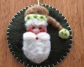 Needle Felted Santa Face Christmas Ornament On Dark Olive Green Wool Felt
