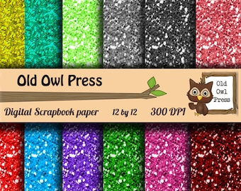 Downloadable paper, scrapbook paper, commercial use, glitter paper, 12 by 12 300 dpi,  instant download, 12 papers,designer