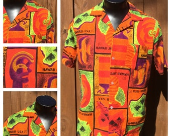 VINTAGE 1960s Jaycees XXVI World Congress Hawiian Shirt - Aloha Shirt - TIKI Shirt