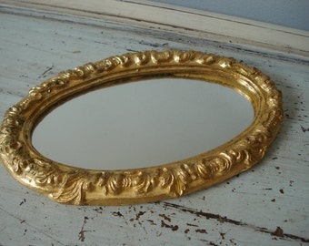 Vintage Italian Florentine Mirror/Gold Ornate Mirror/small oval mirror/Florentine Mirror
