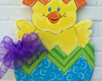Easter Spring Chick Egg Wooden Hand Painted Personalized Door Hanger