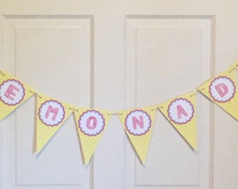 SWEET LEMONADE Happy Birthday or Baby Shower Banner - Party Packs Available