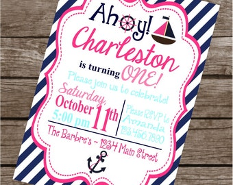 GIRLY NAUTICAL Birthday Party or Baby Shower Invitations Set of 12 {1 Dozen} - Party Packs Available