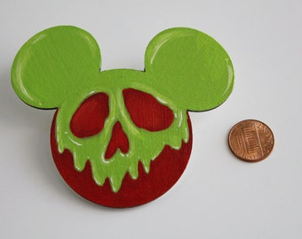 Snow White Poison Apple Mickey Pin Hand Painted Disney Brooch
