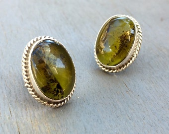 Vintage Green Stone Earrings Sterling Silver Taxco Mexico Jewelry Green Prehnite Jewelry