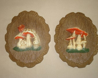 Pair of Vintage Mushroom Art Wall Hangings Pictures