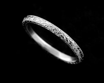 Gold Engraved Women's Wedding Ring, Thin Wedding Ring, Straight Crafted Wedding Ring, Stackable Art Deco Wedding Ring, Wheat Engraved 1.6mm