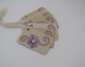 Purple Flower Glittered with Tendrils Small Gift Accent Shower Tags Favors set of 10