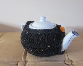 Black Teapot Crochet Cozy with Button, Teapot Cozies, Crocheted Cozy for Teapot, Cozy for Teapot, Cozies for Tea, Crocheted Tea Warmer